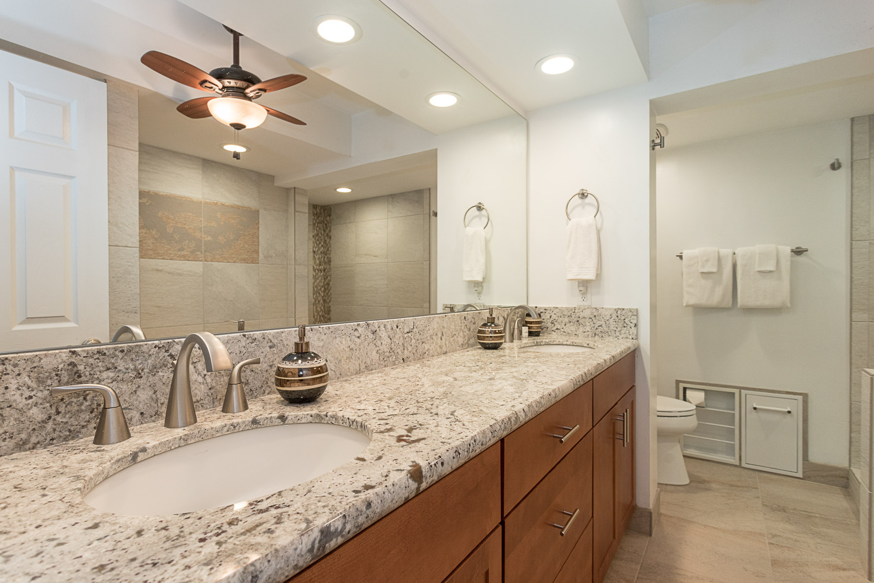 Master ensuite bathroom with double sinks