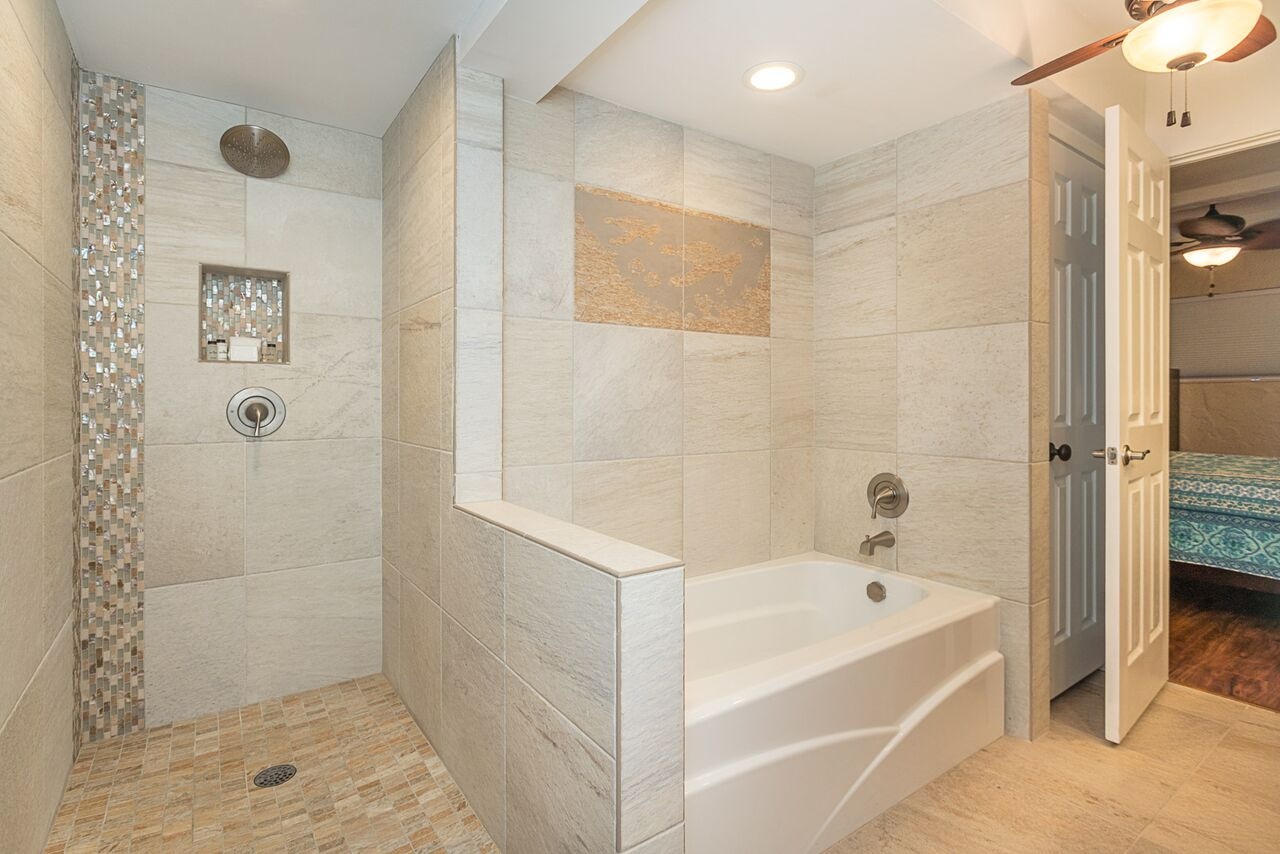 Walk-in shower and soaking tub in master suite